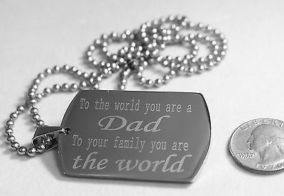 DAD, MOM, SISTER, BROTHER LOVE THE WORLD NECKLACE  DOG TAG STAINLESS STEEL