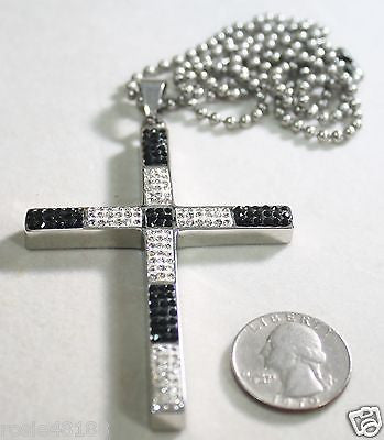 HIP HOP CZ BLING BLACK CLEAR WHITE STAINLESS STEEL CROSS AND RHODIUM - Samstagsandmore