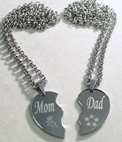 SOLID STAINLESS STEEL MOM DAD SPLIT HEART NECKLACES LOVE FREE ENGRAVING - Samstagsandmore