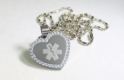 MEDICAL ALERT CZ BLING HEART SOLID STAINLESS STEEL TAG FREE ENGRAVE