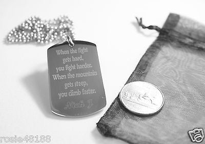 WHEN THE FIGHT GETS HARD JONAS STAINLESS STEEL DOG TAG NECKLACE