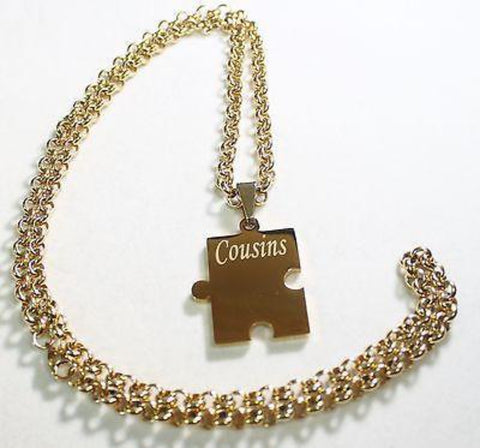 CUSTOM PUZZLE PIECE IPG GOLD SOLID STAINLESS STEEL ROLO  CHAIN NECKLACE