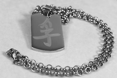 CHINESE TRUTH SYMBOL  ON SOLID STAINLESS STEEL THICK TAG ROLO CHAIN NECKLACE - Samstagsandmore