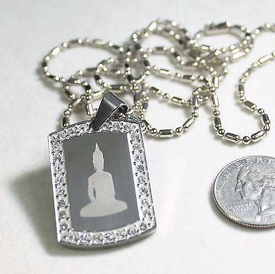 BUDDHA  DOG TAG CZ ICED SILVER STAINLESS STEEL  NECKLACE PENDANT