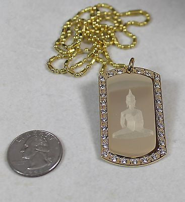 BUDDHA IMAGE  ENGRAVED,GOLD PLATED, CZ, BLING, DOG TAG, NECKLACE - Samstagsandmore