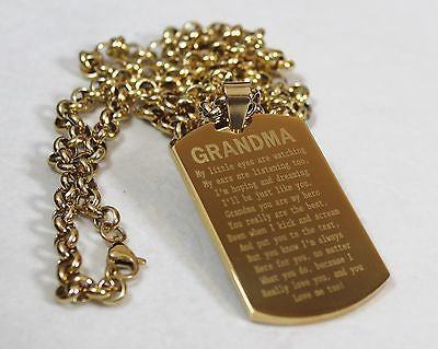 GRANDMA MESSAGE SPECIAL NECKLACE POEM DOG TAG STAINLESS STEEL GOLD PLATED IPG