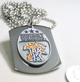 KENTUCKY WILDCATS  X LARGE  DOG TAG STAINLESS STEEL NECKLACE LOGO FREE ENGRAVE