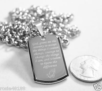 SERENITY  PRAYER  CROSS 3D SMALLER STAINLESS STEEL HIGH SHINE DOG TAG NECKLACE