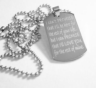 LOVE PROMISE MESSAGE WEDDING SPECIAL NECKLACE POEM DOG TAG STAINLESS STEEL