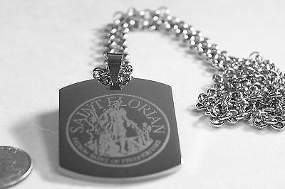 SAINT FLORIAN IMAGE FIREMAN SOLID STAINLESS STEEL ENGRAVE NAME DOG TAG NECKLACE