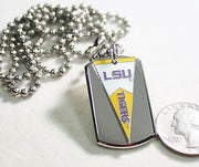 LOUISIANA STATE LSU PENNANT STAINLESS STEEL DOG TAG NECKLACE  3D BALL CHAIN - Samstagsandmore