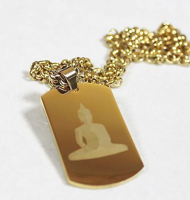 BUDDHA NECKLACE THICK  DOG TAG STAINLESS STEEL COLOR GOLD IPG ROLO CHAIN PENDANT - Samstagsandmore