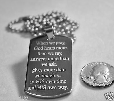 GOD PRAYER DOG TAG STAINLESS STEEL THICK RELIGION INSPIRATIONAL