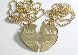 SPLIT HEART STAINLESS STEEL IPG GOLD NECKLACE HEARTS INTERTWINED FREE ENGRAVE - Samstagsandmore