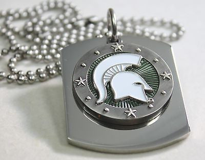 MICHIGAN STATE SPARTANS  X LARGE  DOG TAG STAINLESS STEEL NECKLACE LOGO