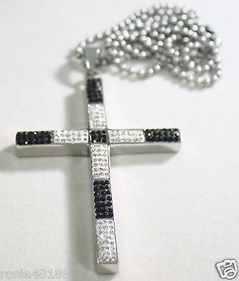 HIP HOP CZ BLACK CLEAR WHITE  ICED OUT STAINLESS STEEL CROSS AND RHODIUM