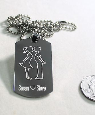 GIRL KISSING BOY, MOM, DAD, LOVE, FRIENDSHIP, DOG TAG NECKLACE STAINLESS STEEL