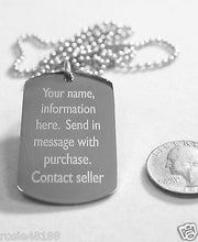 MEDICAL ALERT PTSD  SILVER  STAINLESS STEEL  DOG TAG NECKLACE FREE  ENGRAVING - Samstagsandmore