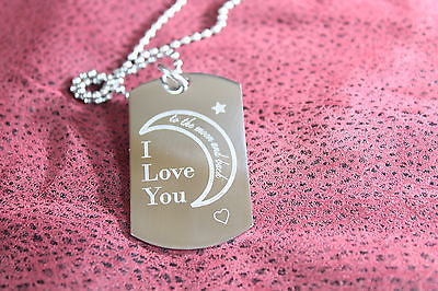 VALENTINES DAY LOVE YOU TO THE MOON AND BACK DOG TAG NECKLACE STAINLESS STEEL
