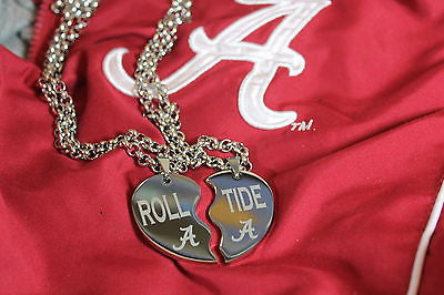 SOLID STAINLESS SPLIT HEART NECKLACES ALABAMA CRIMSON ROLL TIDE BAMA
