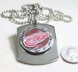 DETROIT RED WINGS  X LARGE  DOG TAG STAINLESS STEEL NECKLACE LOGO