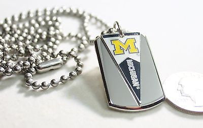UNIVERSITY OF MICHIGAN PENNANT STAINLESS STEEL DOG TAG NECKLACE  3D BALL CHAIN