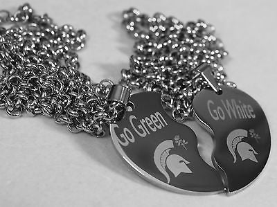 SOLID STAINLESS MICHIGAN STATE ROSE BOWL GO GREEN GO WHITE SPLIT HEART NECKLACE
