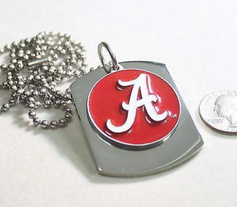 ALABAMA  UNIVERSITY LOGO  X LARGE  DOG TAG STAINLESS STEEL NECKLACE LOGO