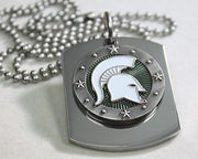 MICHIGAN STATE SPARTANS  X LARGE  DOG TAG STAINLESS STEEL NECKLACE LOGO - Samstagsandmore