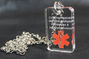 MEDICAL ALERT SAND BLASTED PERSONALIZE  CRYSTAL DOG TAG NECKLACE - Samstagsandmore