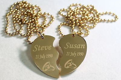 SPLIT HEART WEDDING SET NECKLACE  SET IPG GOLD  STAINLESS STEEL FREE ENGRAVING - Samstagsandmore
