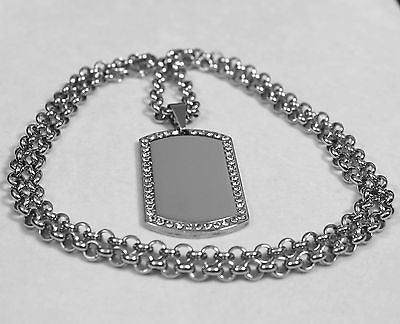 CZ BLING ICE THICK  NECKLACE  DOG TAG STAINLESS STEEL ROLO CHAIN