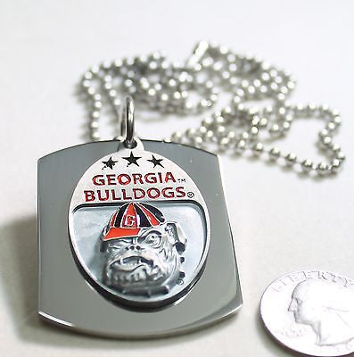 GEORGIA BULLDOGS  X LARGE  DOG TAG STAINLESS STEEL NECKLACE LOGO FREE ENGRAVE
