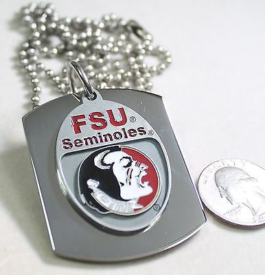 FSU FLORIDA SEMINOLES  X LARGE  DOG TAG STAINLESS STEEL NECKLACE LOGO