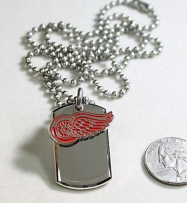 NHL DETROIT RED WINGS STAINLESS STEEL HOCKEY NECKLACE TAG PENDANT - Samstagsandmore