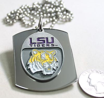 LSU  X LARGE  DOG TAG STAINLESS STEEL NECKLACE LOGO FREE ENGRAVE - Samstagsandmore