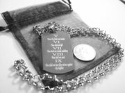 10 COMMANDMENTS SOLID THICK  STAINLESS STEEL ROLO CHAIN SHINE  PRAYER - Samstagsandmore