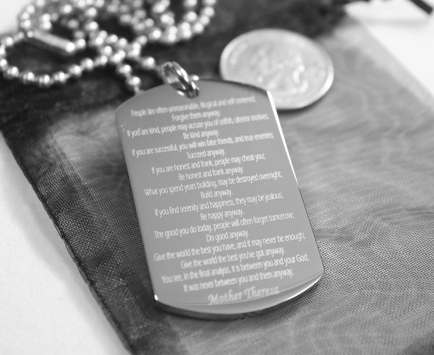 PRAYER NECKLACE MOTHER TERESA DO IT ANYWAY DOG TAG STAINLESS STEEL RELIGIOUS - Samstagsandmore