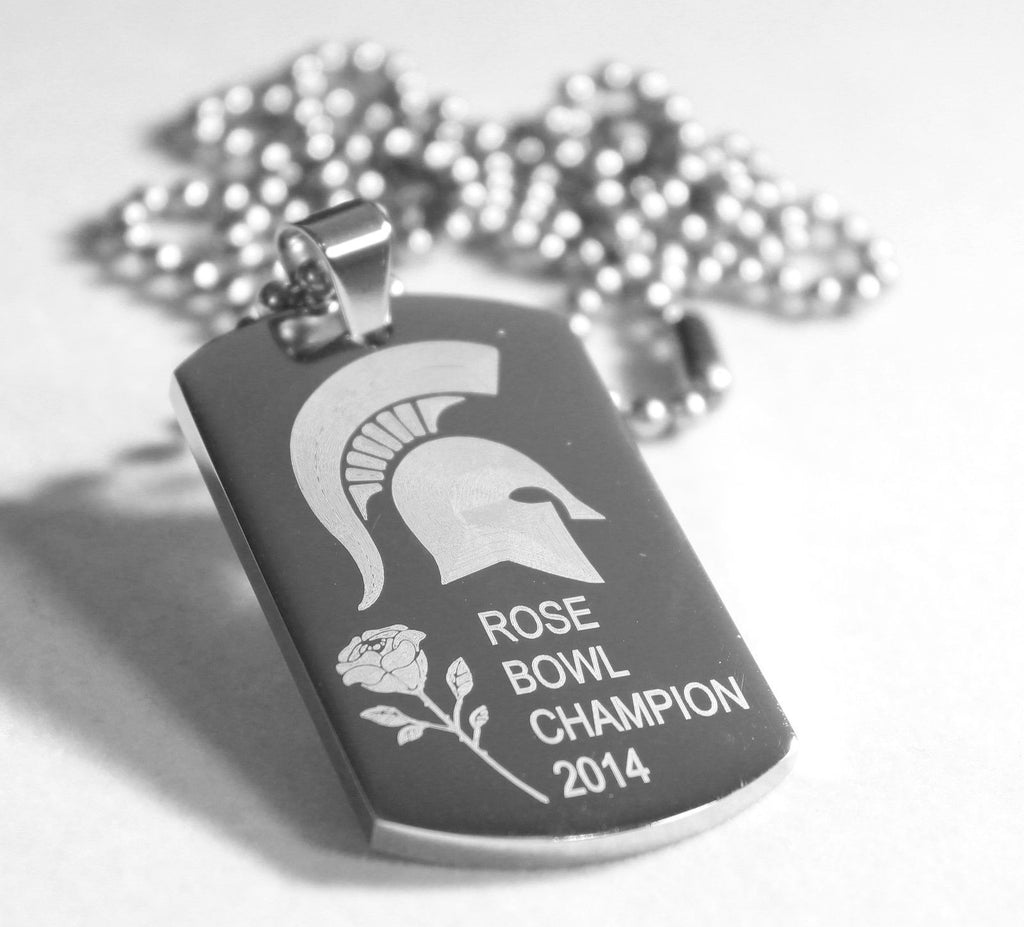 ROSE BOWL MICHIGAN STATE SPARTANS 2014 DOG TAG THICK STAINLESS STEEL