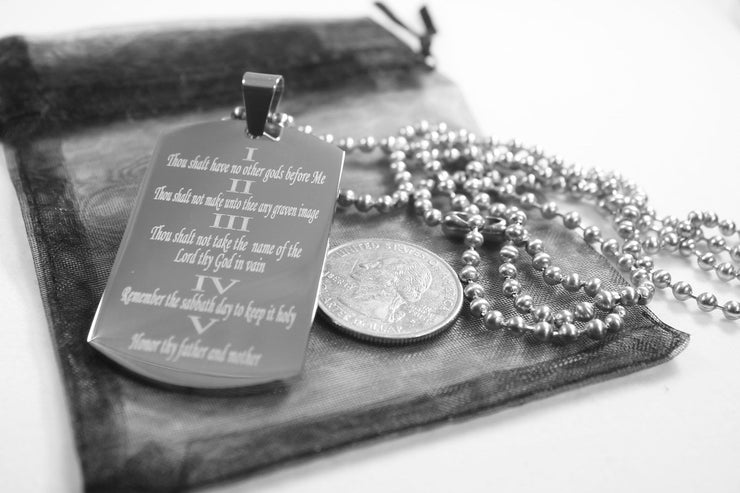 10 COMMANDMENTS SOLID THICK  STAINLESS STEEL BALL CHAIN SHINE PRAYER NECKLACE - Samstagsandmore