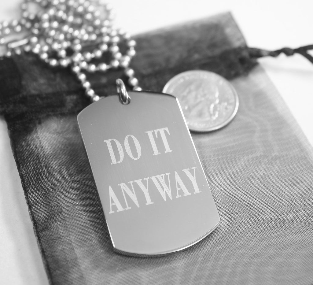 PRAYER NECKLACE MOTHER THERESA DO IT ANYWAY DOG TAG STAINLESS STEEL RELIGIOUS