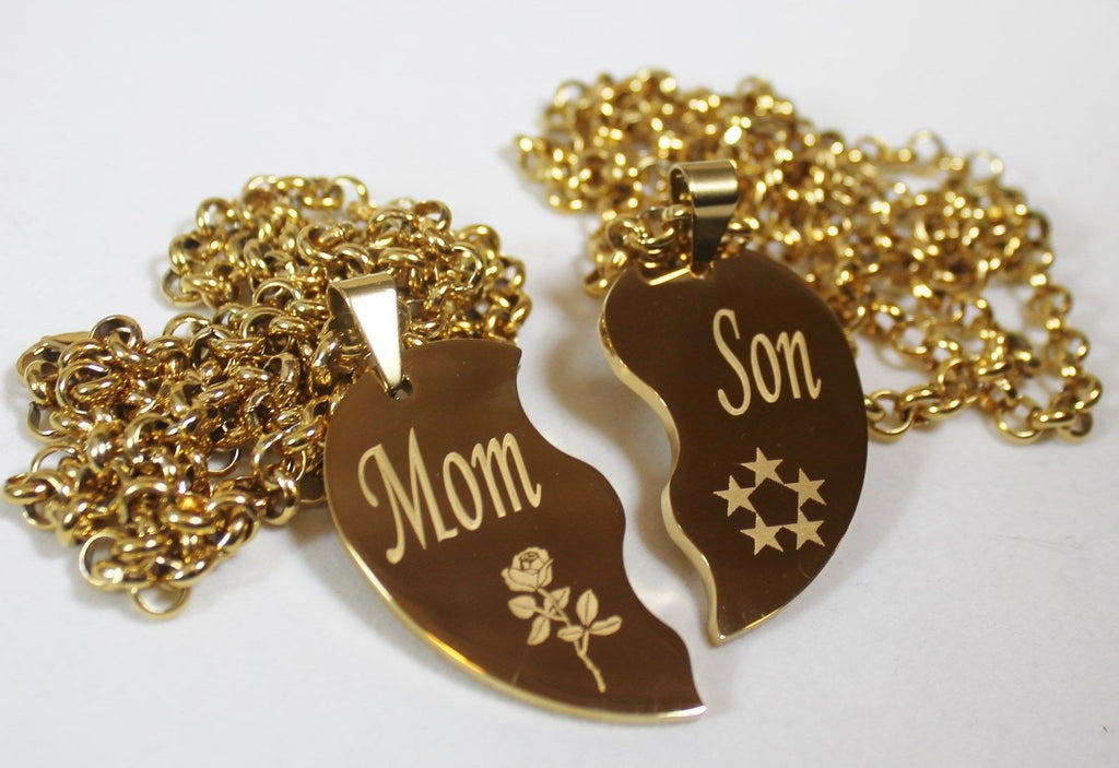 SPLIT HEART NECKLACE SOLID STAINLESS MOM SON IPG GOLD PLATED THICK PENDANTS - Samstagsandmore