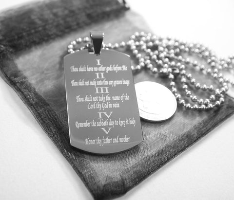 10 COMMANDMENTS SOLID THICK  STAINLESS STEEL BALL CHAIN SHINE PRAYER NECKLACE