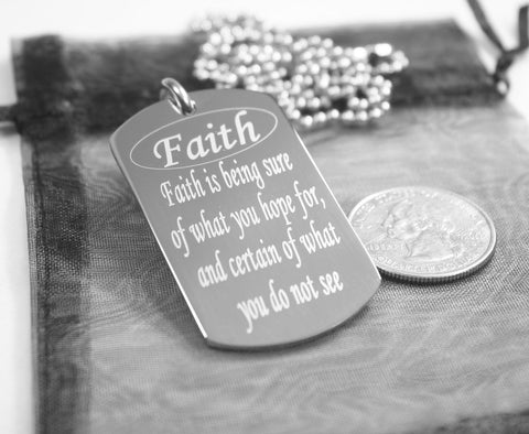 FAITH SPECIAL MESSAGE NECKLACE PENDANT DOG TAG SOLID STAINLESS steel