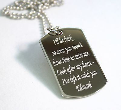 REMEMBER ME, MESSAGE, QUOTE, LOVE, DOG TAG NECKLACE STAINLESS STEEL - Samstagsandmore