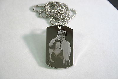 PICTURE STAINLESS STEEL   DOG TAG PENDANT NECKLACE DOUBLE SIDED FREE ENGRAVING - Samstagsandmore