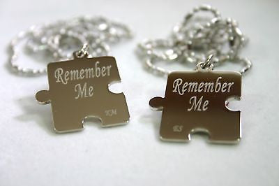 PERSONALIZED PUZZLE PIECES PENDANTS NECKLACE PAIR - Samstagsandmore