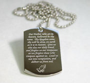 LORD'S PRAYER RELIGIOUS PRAYER DOG TAG NECKLACE STAINLESS STEEL - Samstagsandmore