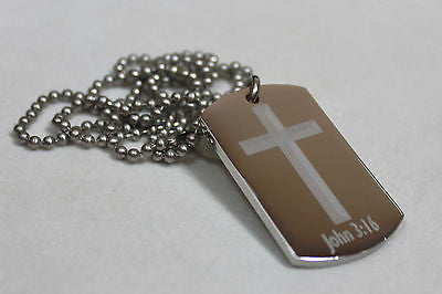 JOHN 3:16 INSPIRATIONAL PRAYER SOLID THICK STAINLESS STEEL SHINE CROSS PRAYER - Samstagsandmore