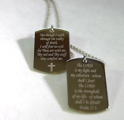 PSALM TAGS STAINLESS STEEL CUSTOM PRAYER MILITARY STYLE  NECKLACE